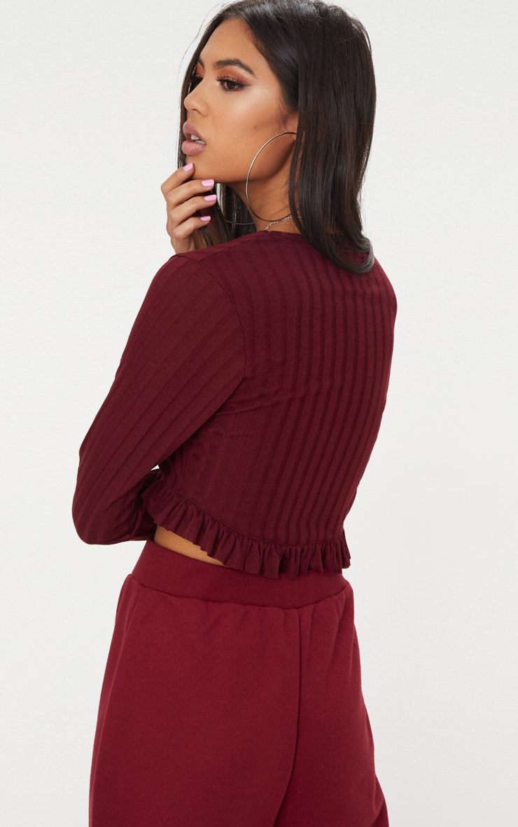 Burgundy Rib Knit Frill Hem Top 2