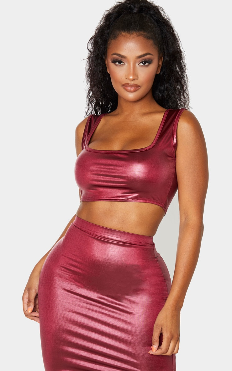 Shape Burgundy Metallic Slinky Square Neck Cropped Top 1