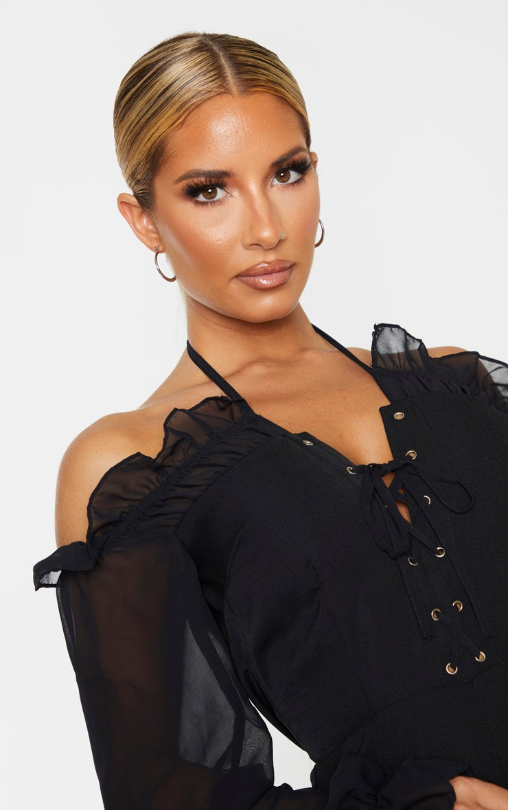 Black Lace Up Detail Chiffon Sleeves Jumpsuit 5