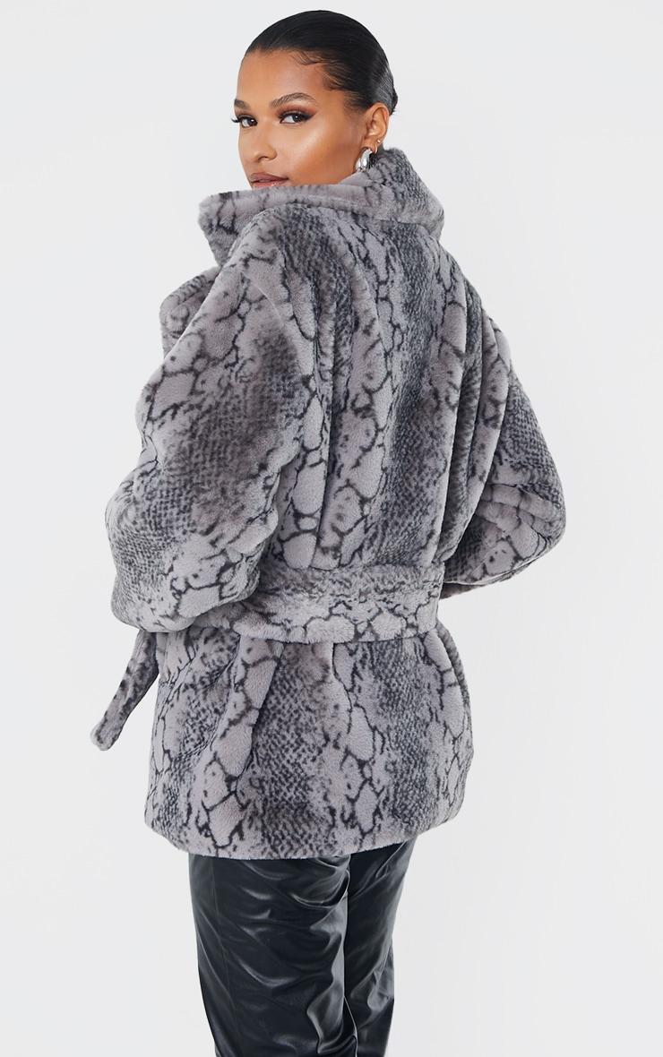 Grey Snake Print Faux Fur Coat 2
