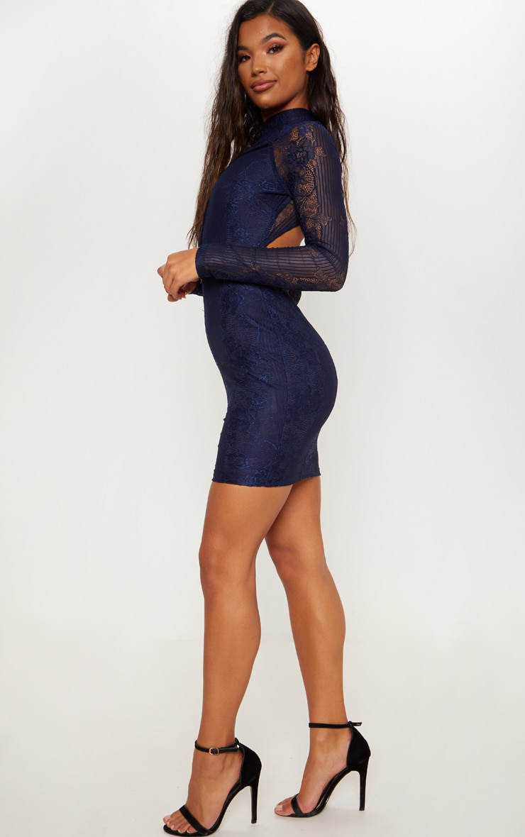 Navy Ribbed Lace Backless Bodycon Dress 4