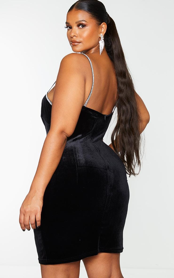 Plus Black Velvet Diamante Trim Strappy Bodycon Dress 2