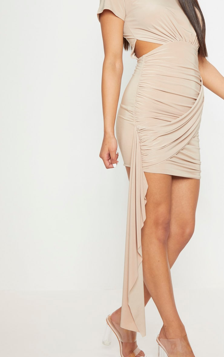 Stone Ruched Cut Out Detail Drape Bodycon Dress 5