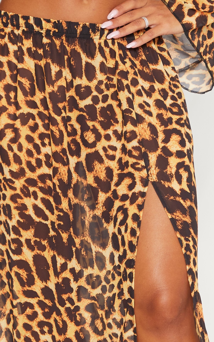 Jupe de plage léopard à taille haute et fente 5