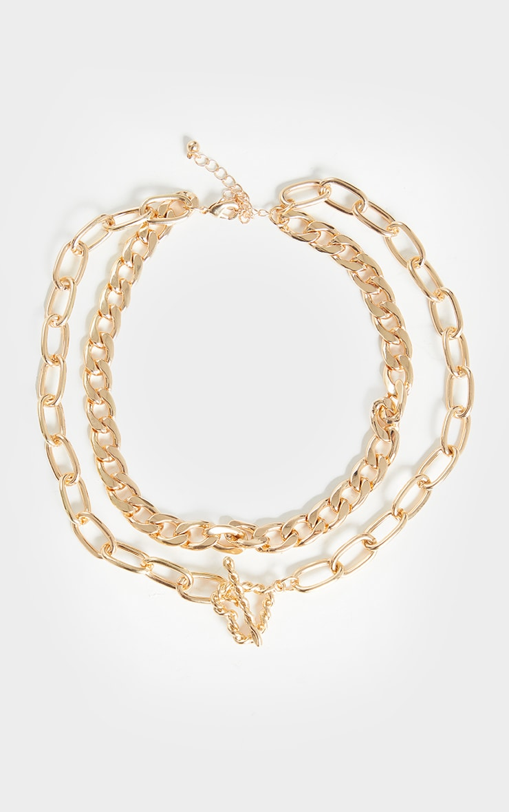 Gold Chunky Assorted T Bar Necklace 4