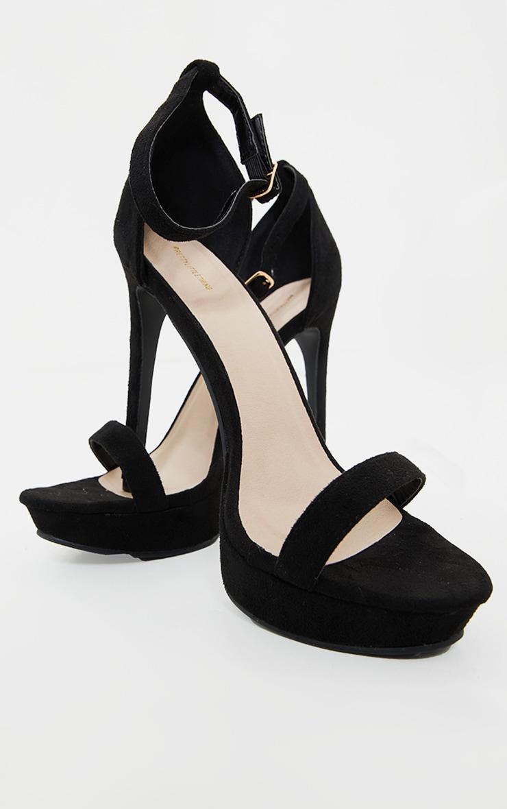 Black Platform Strap Heeled Sandal 3
