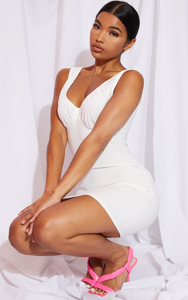 White Bust Detail Sleeveless Bodycon Dress 3