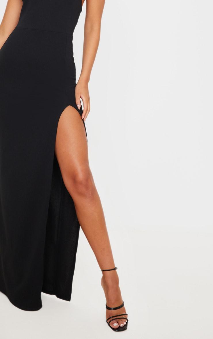 Black Straight Neck Cross Back Maxi Dress 5