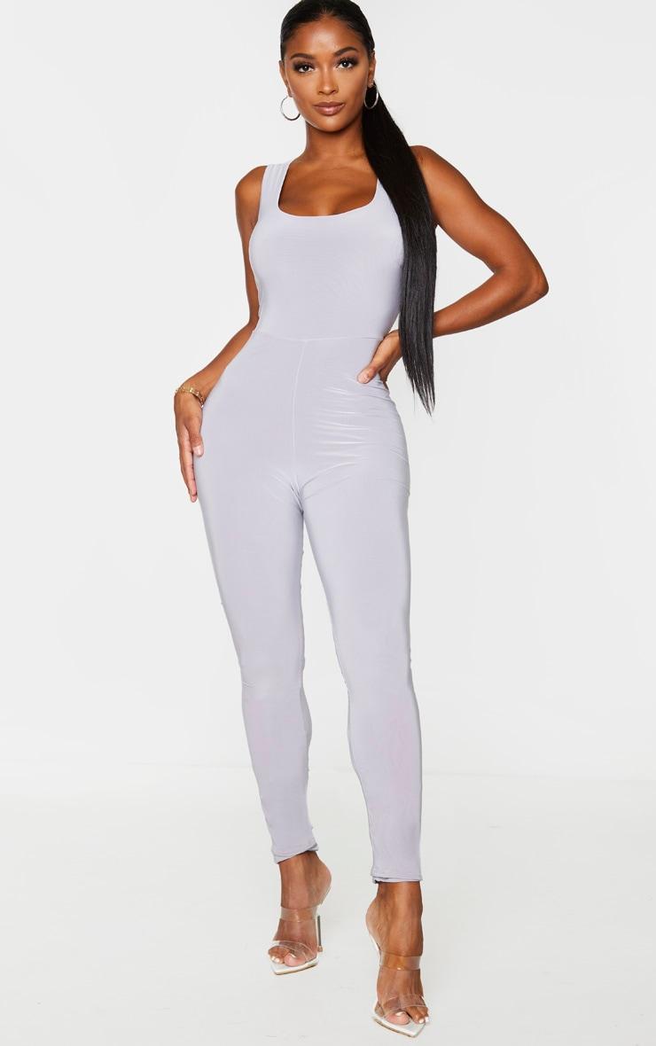Shape Grey Slinky Ruched Bum Jumpsuit 2