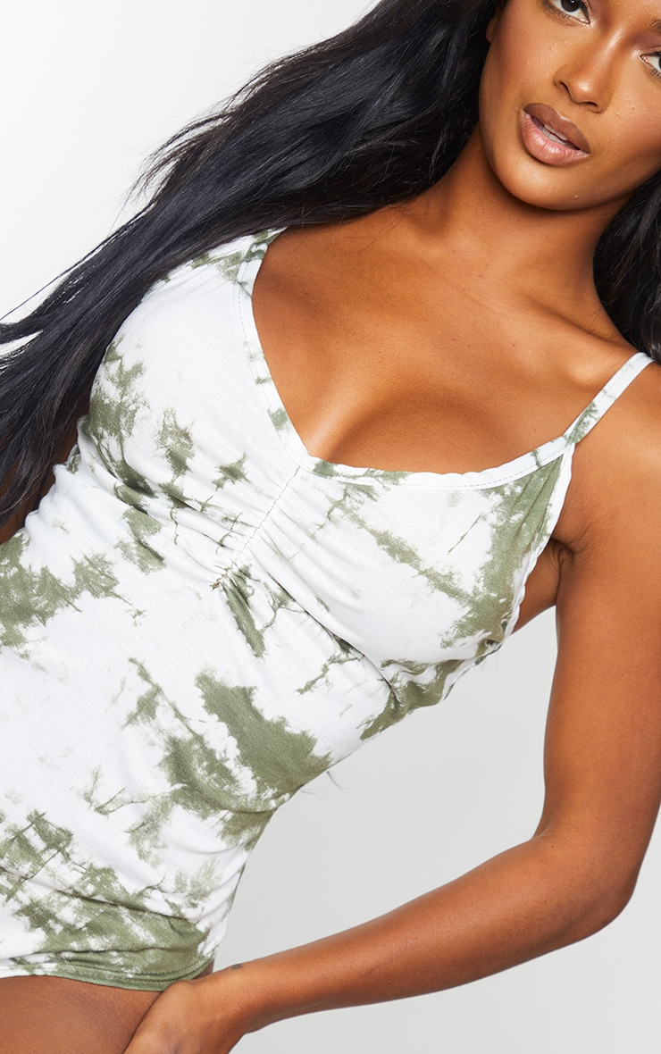 Shape Khaki Tie Dye Jersey Ruched Front Strappy Bodysuit 4