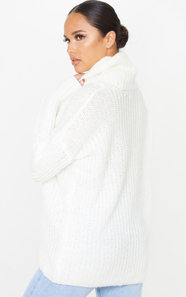 Cream Soft Knit Roll Neck Sweater 2