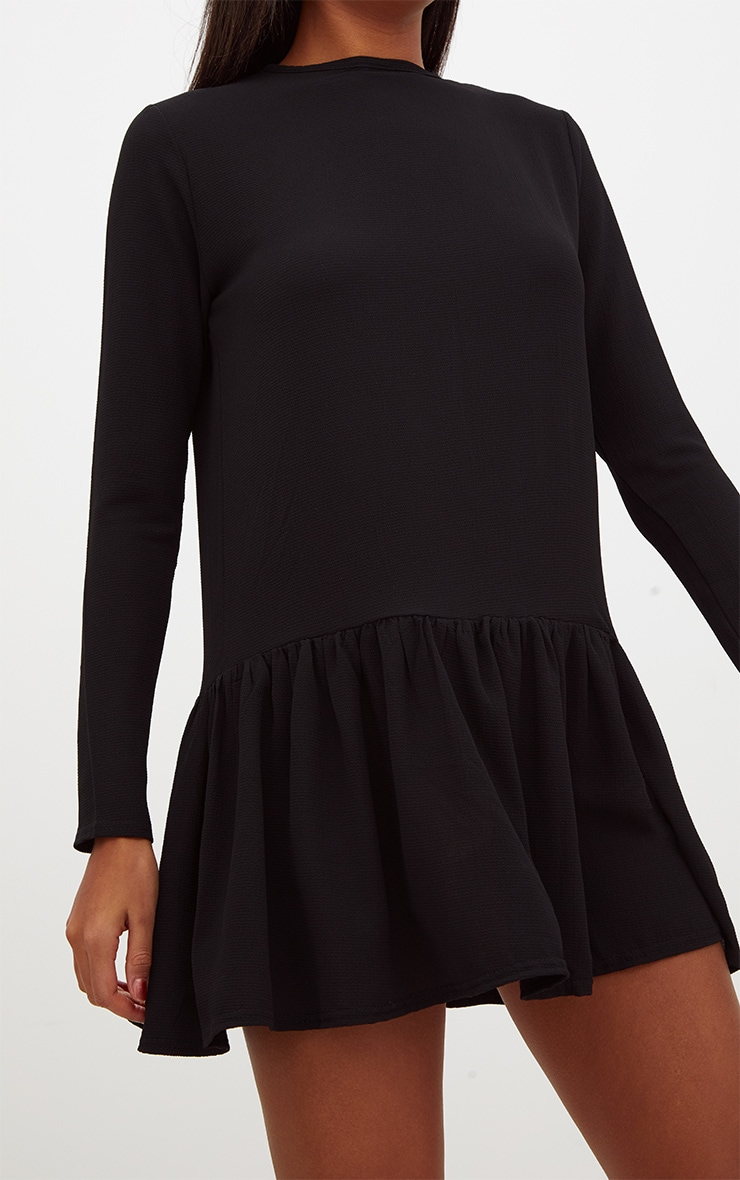 Black Long Sleeve Frill Hem Shift Dress 5