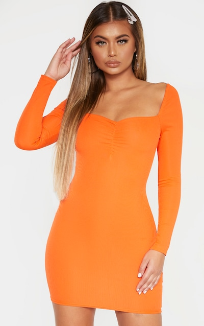 Orange Rib Square Neck Long Sleeve Bodycon Dress