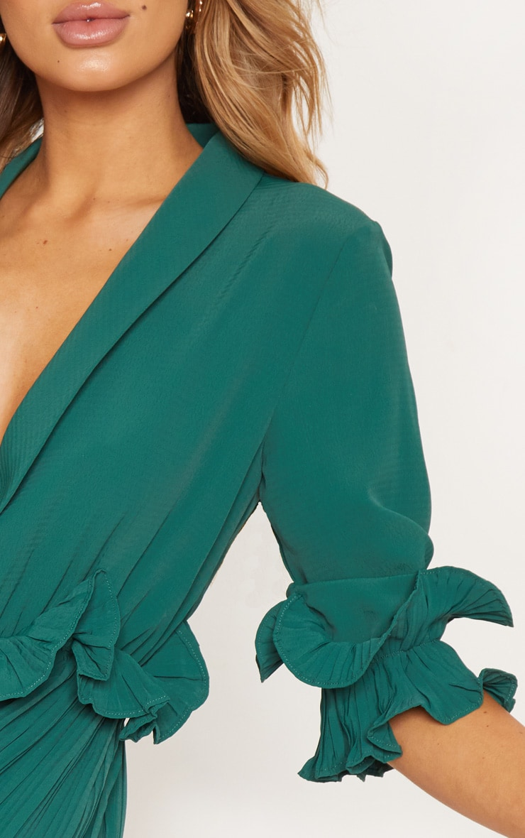Emerald Green Frill Detail Pleated Skater Dress 5