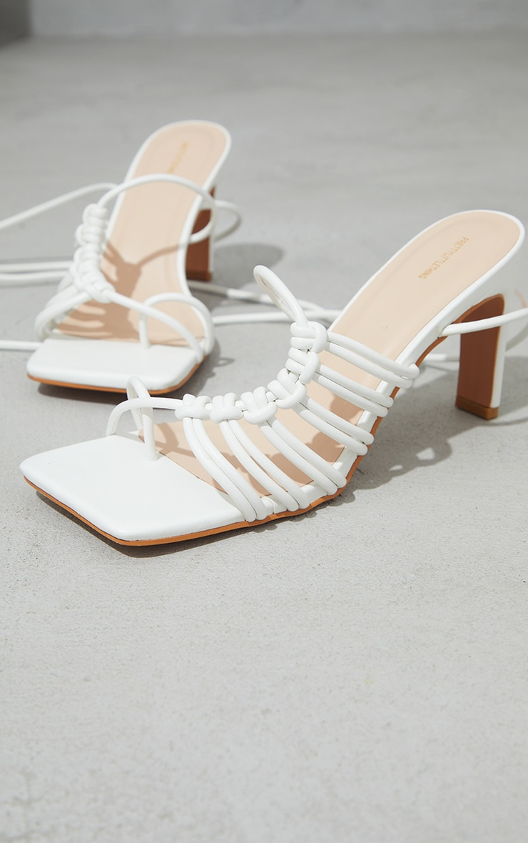 White PU Toe Loop Knot Side Detail Lace Up Flat Heeled Sandals 3