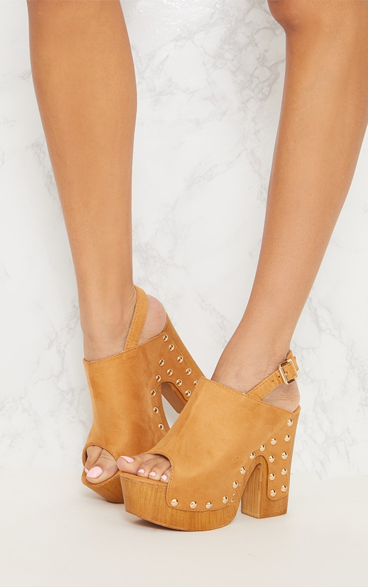 Tan Studded Slingback Heeled Mule 2