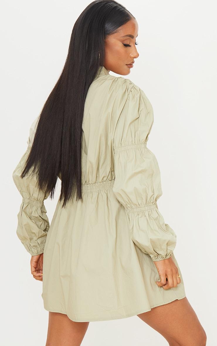 Sage Green Cotton Ruched Arm Detail Shirt Dress 2
