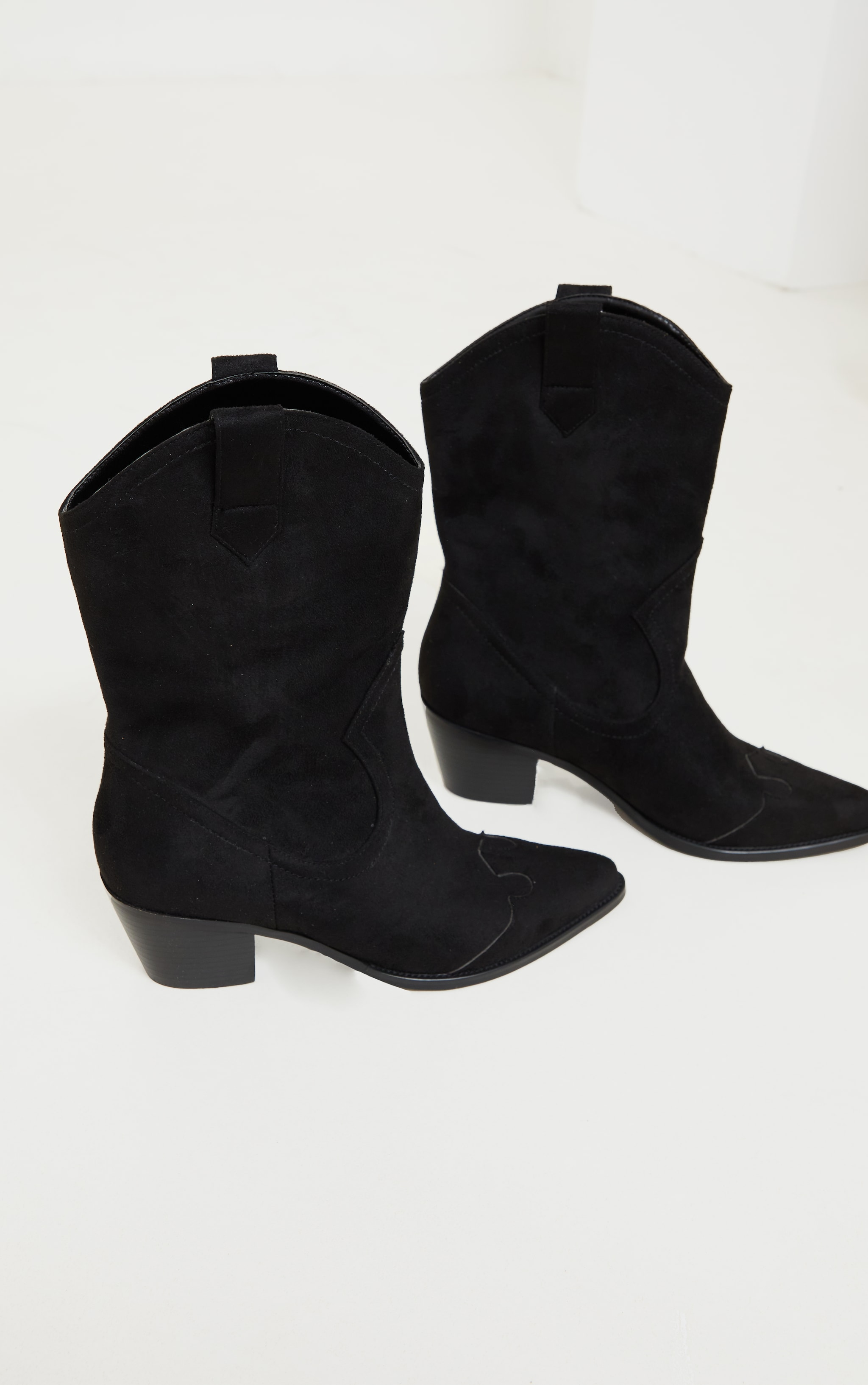 Black Suede Point Toe Western Boots 3