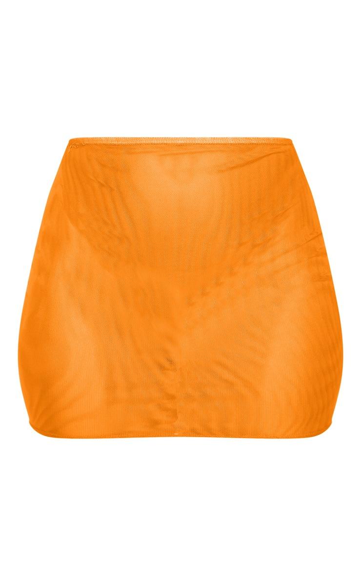 Mini-jupe en mesh orange fluo  3