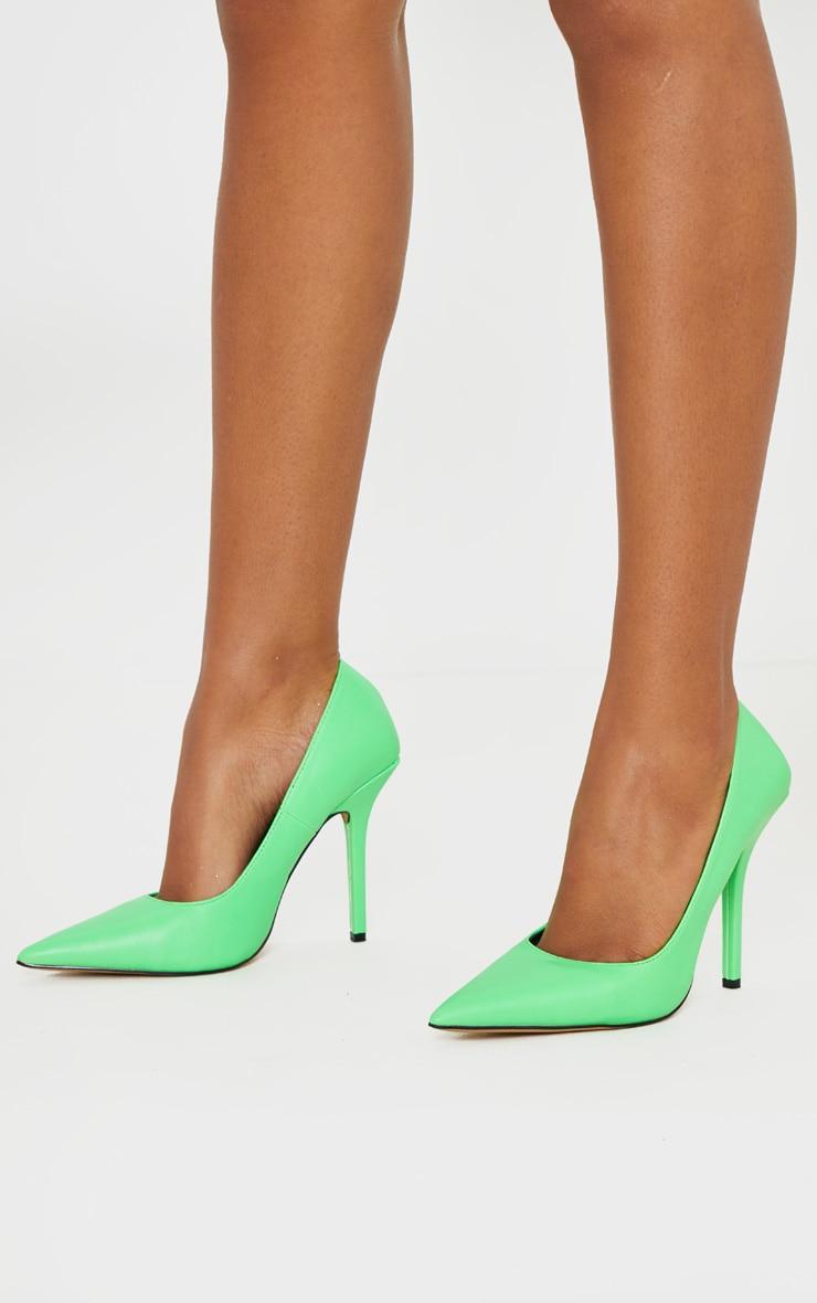 Neon Lime Square Heel Court Shoe