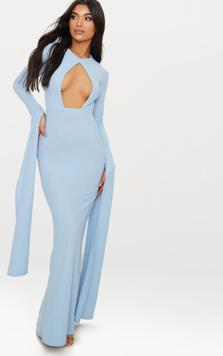 Dusty Blue Cut Out Detail Drape Sleeve Maxi Dress 1