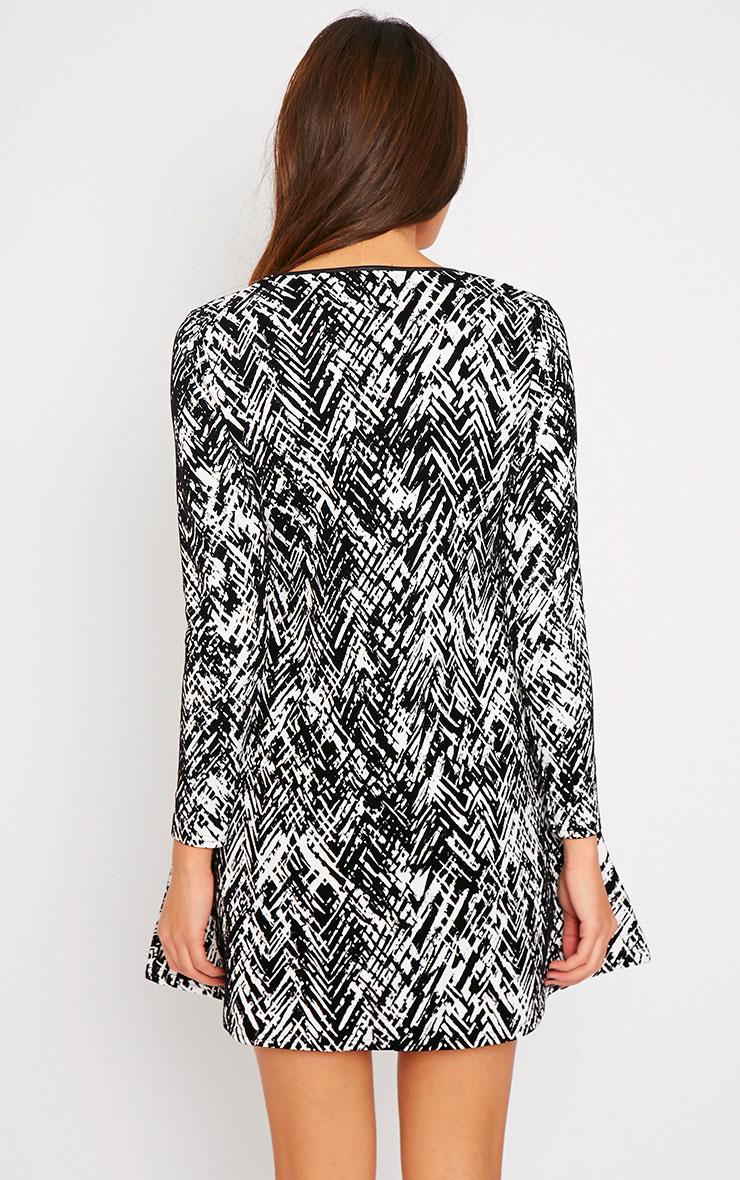Frances Monochrome Abstract Print Flocked Swing Dress 2
