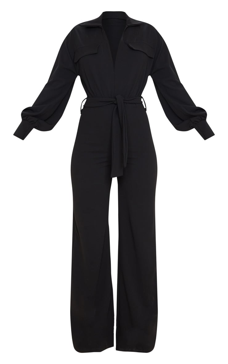 Black Oversized Shirt Style Tie Waist Jumpsuit 5