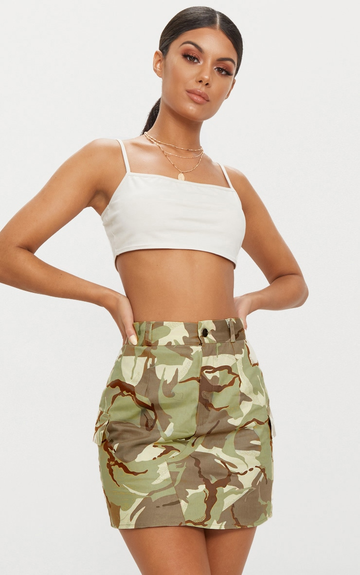 Khaki Camo Cargo Mini Skirt 1