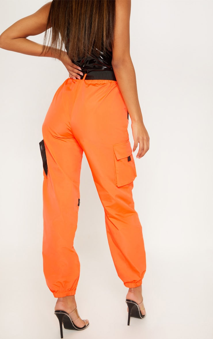 Neon Orange Shell Belted Pocket Detail Joggers 4
