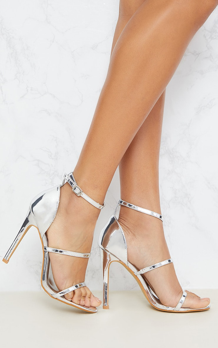 Leyah Silver Multi Strap Heeled Sandals 1