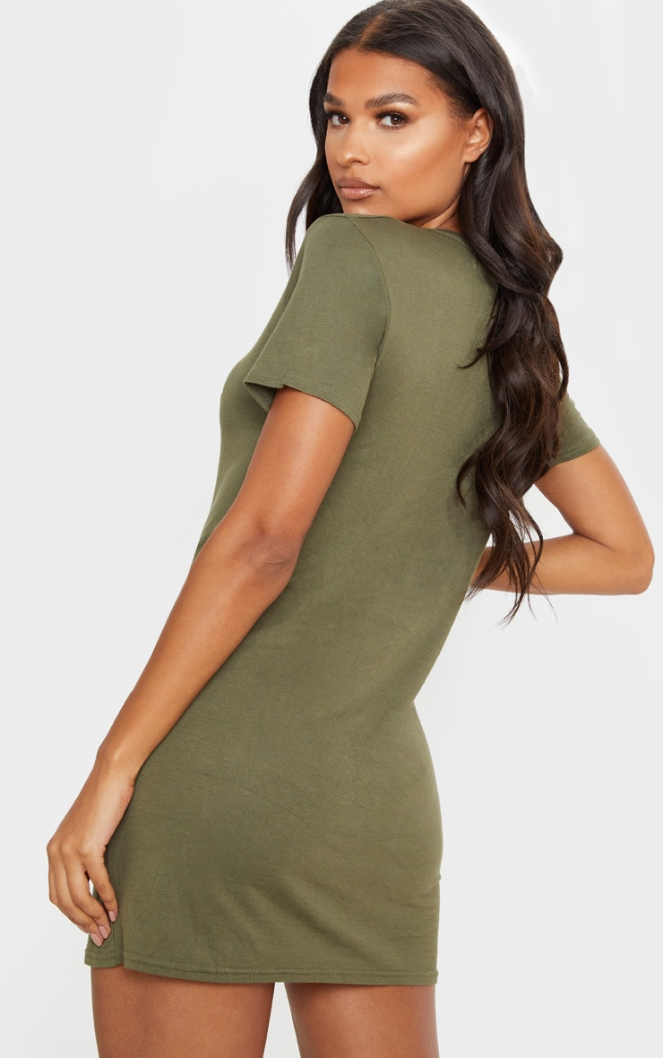 Khaki Basic Short Sleeve T Shirt Dress 2