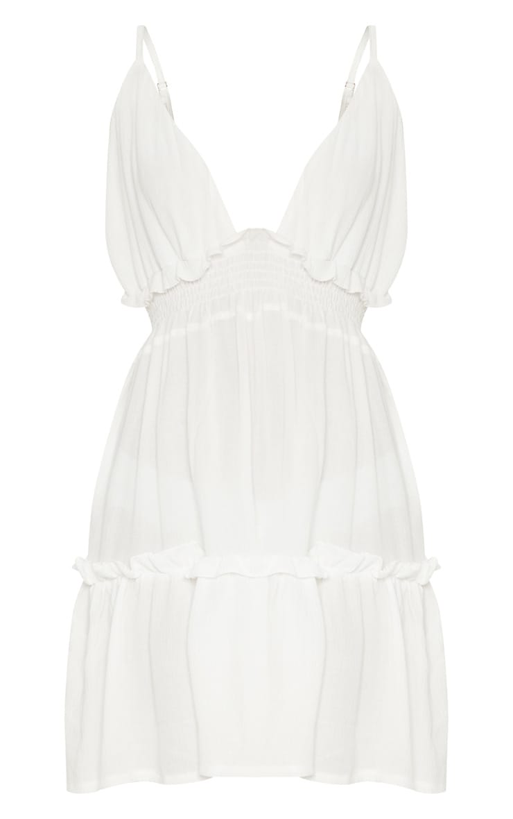 White Cheesecloth Ruched Detail Plunge Strappy Swing Dress 3