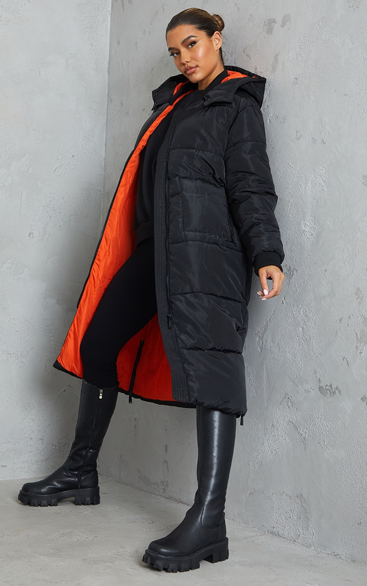 Black Maxi Contrast Hooded Puffer 1
