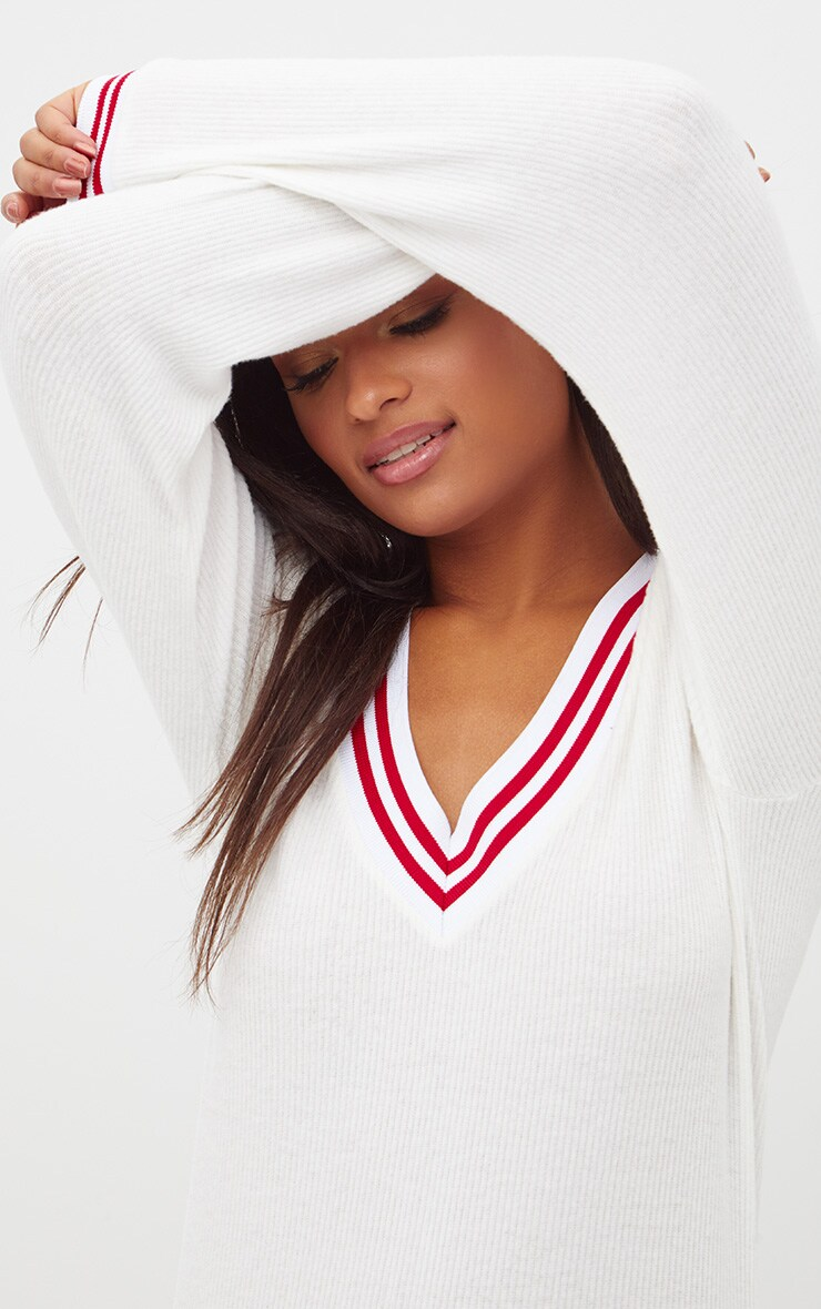 White  Brushed Soft Rib Sport V Neck Sweater 5