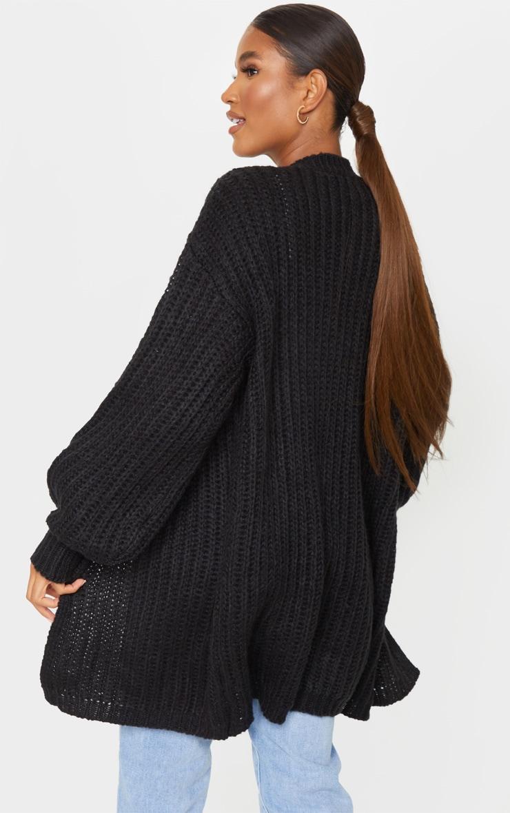 Black Premium Fluffy Chunky Knit Balloon Sleeve Midi Cardigan 2