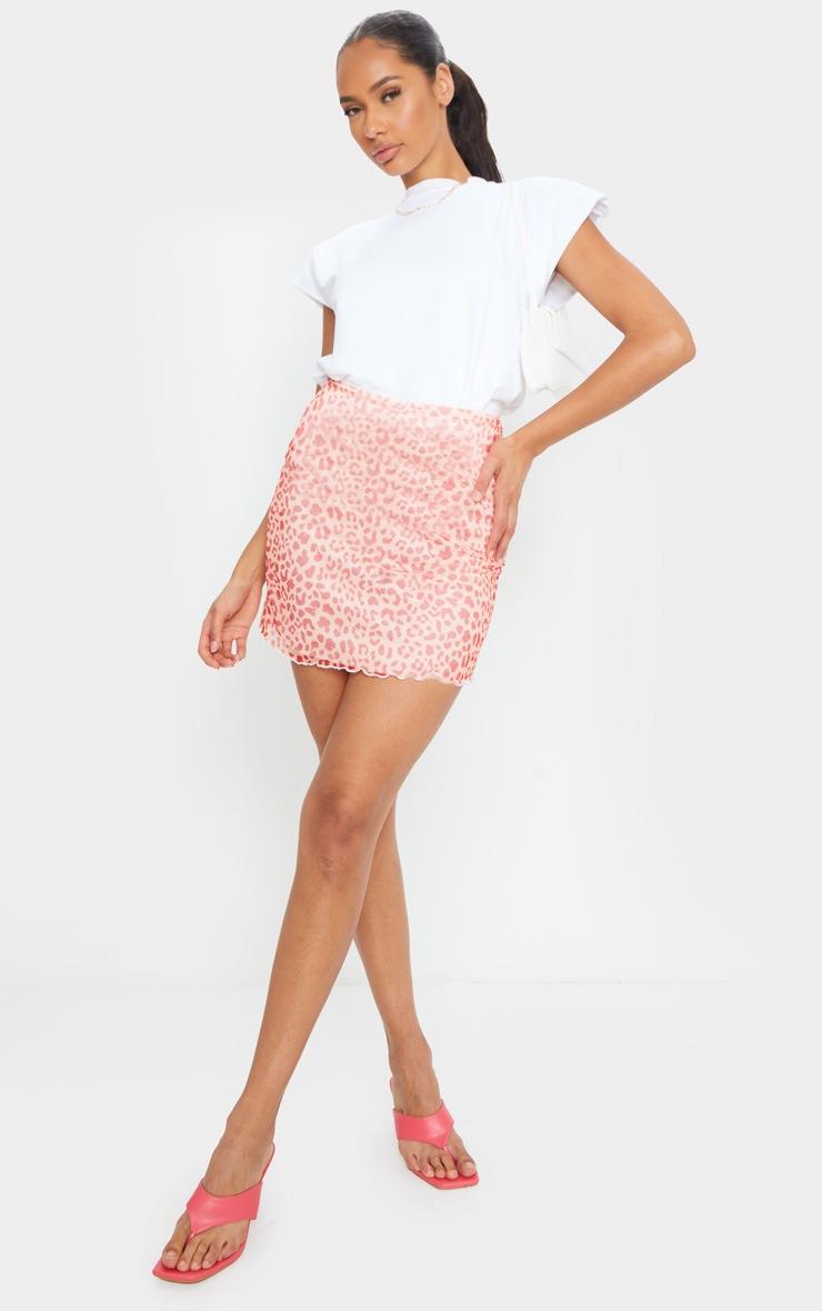 Pink Leopard Print Lettuce Hem Skirt 4