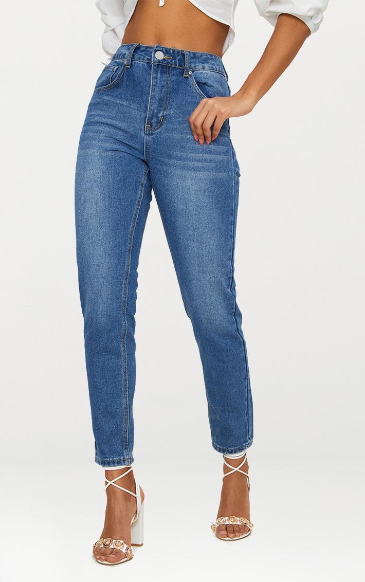 Mid Wash Bum Rip Straight Leg Jean 2