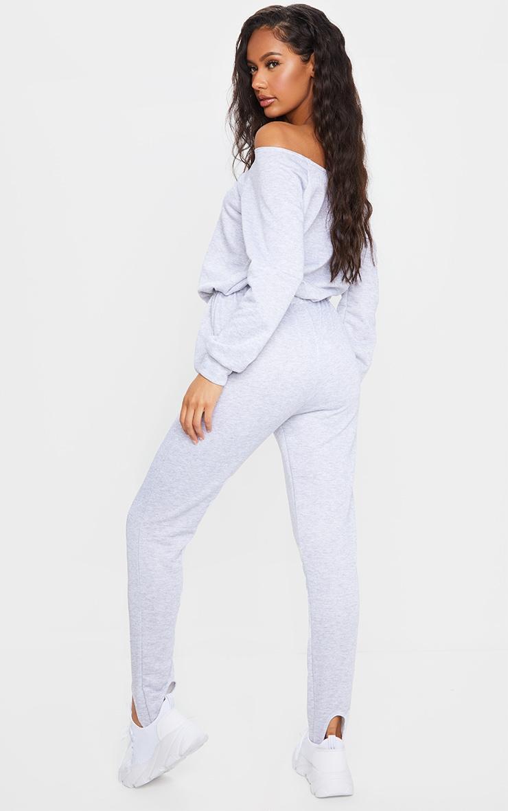 Grey Marl Sweat Bardot Stirrup Jumpsuit 2
