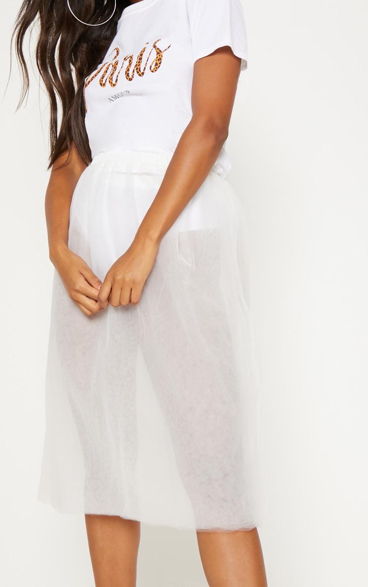 White Sheer Tulle Skirt 5