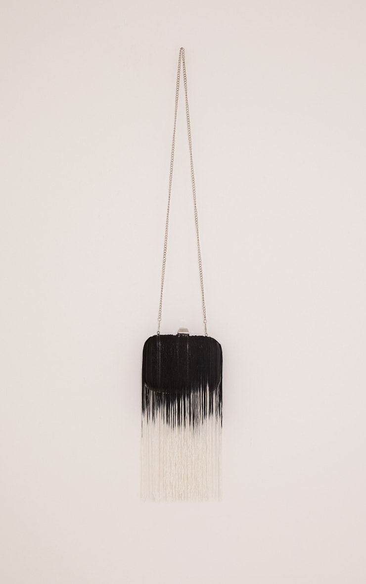 Klio Black Ombre Fringe Box Clutch Bag 1