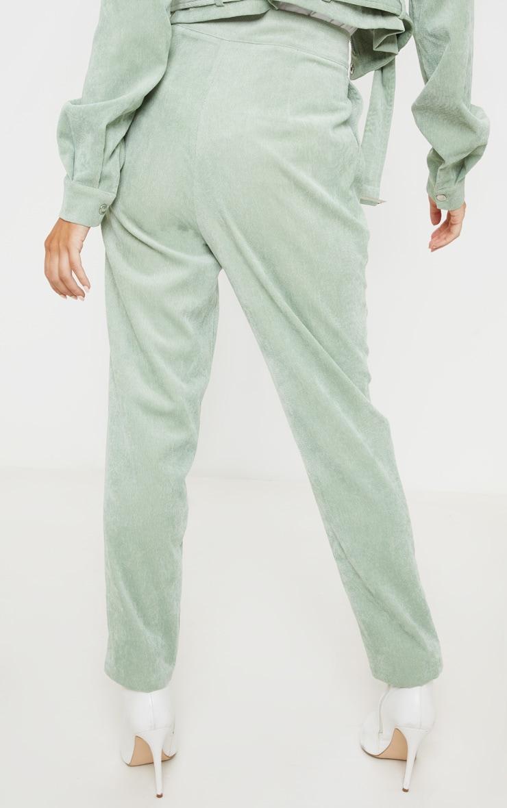 Mint Green Cord High Waisted Straight Leg Trouser 4