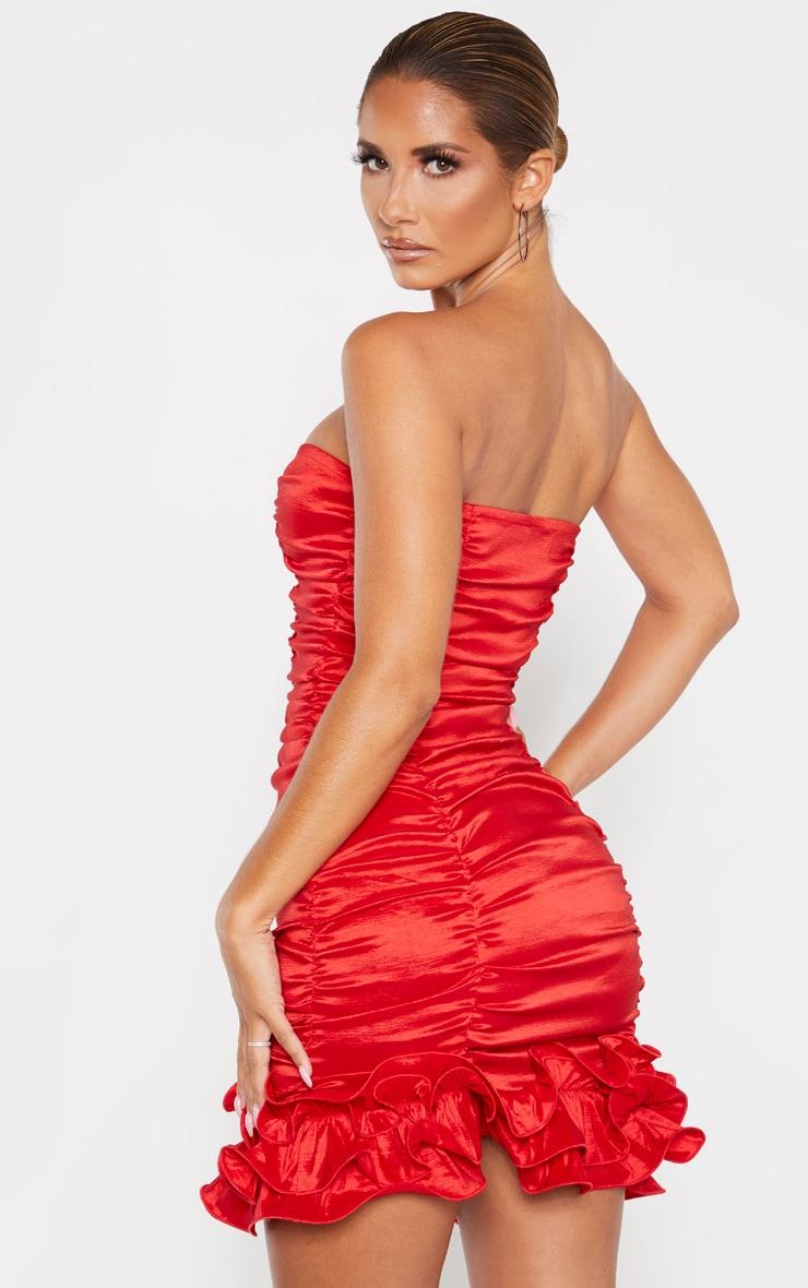 Red Woven Ruffle Frill Hem Bandeau Bodycon Dress 2