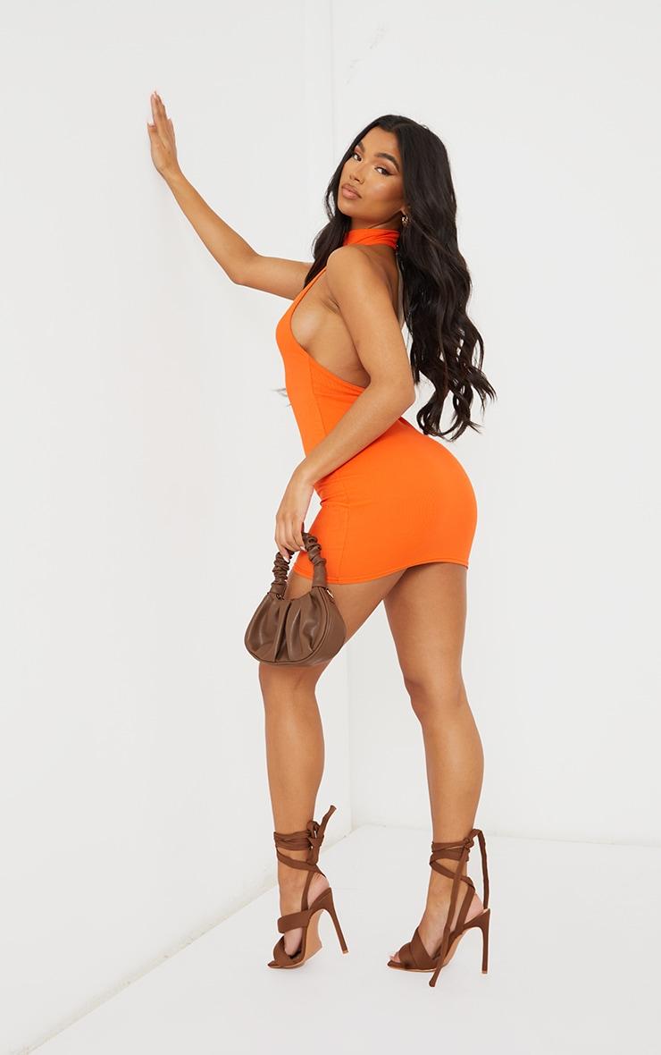 Orange Ribbed High Neck Extreme Open Back Bodycon Dress 1