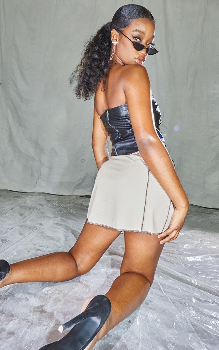 Black PU Bandeau Pointed Hem Lace Up Top 2