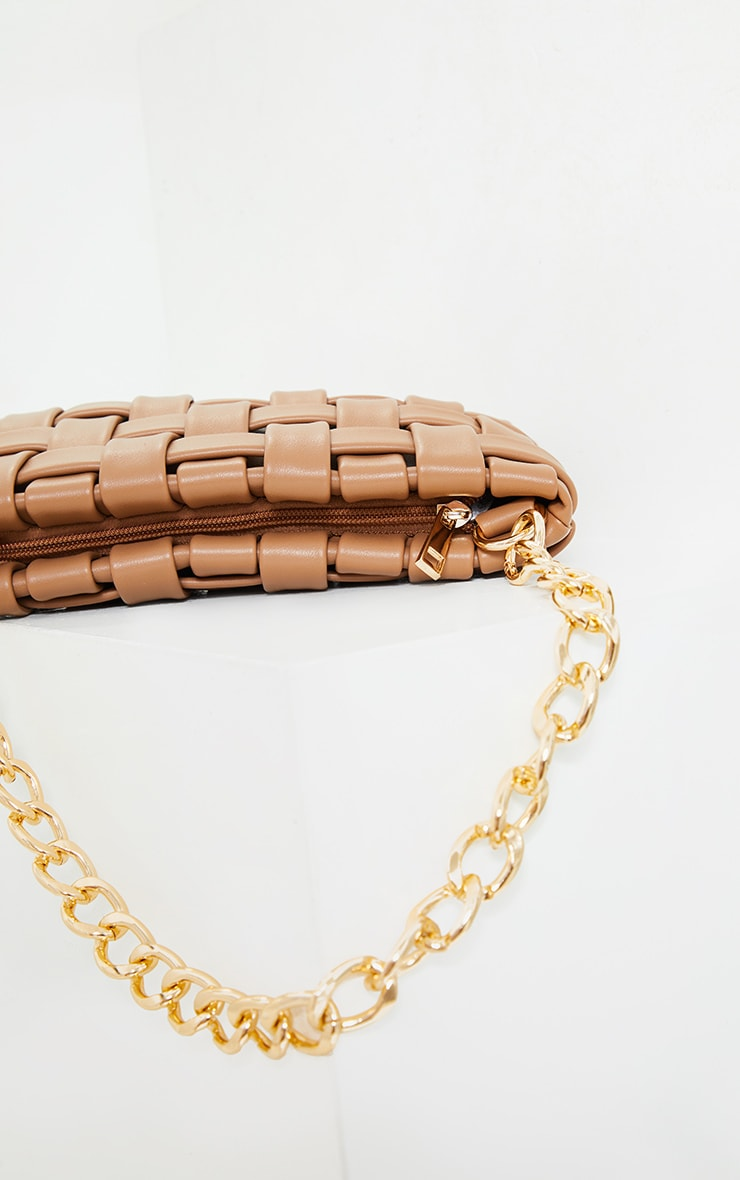 Tan Oversized Weave With Gold Chain Shoulder Bag 3