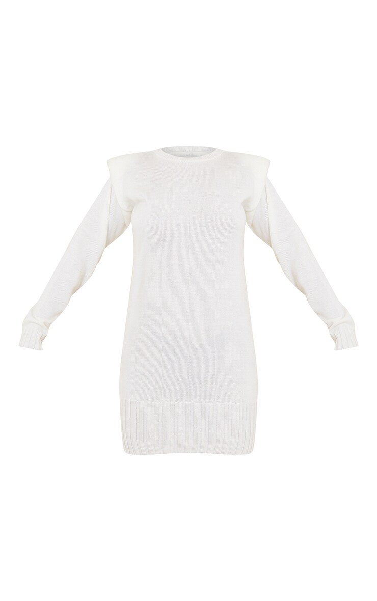 Cream Shoulder Pad Knitted Jumper Dress 5