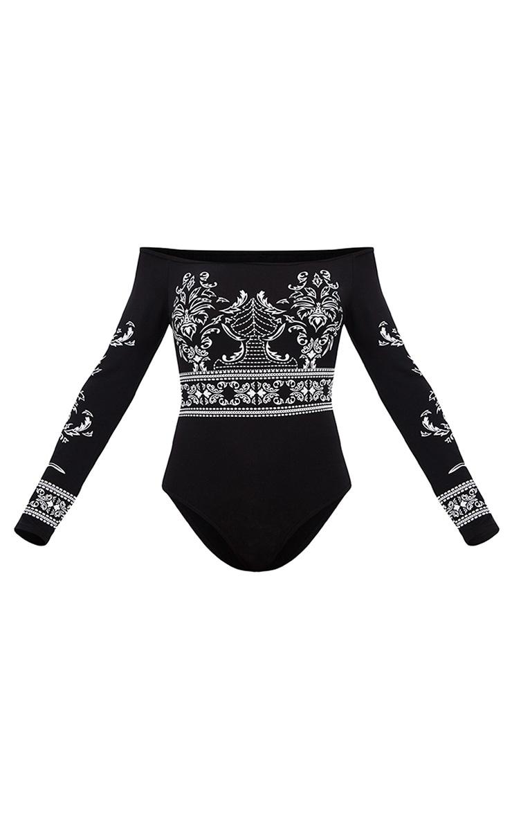 Black Baroque Print Longsleeve Bardot Thong Bodysuit 3