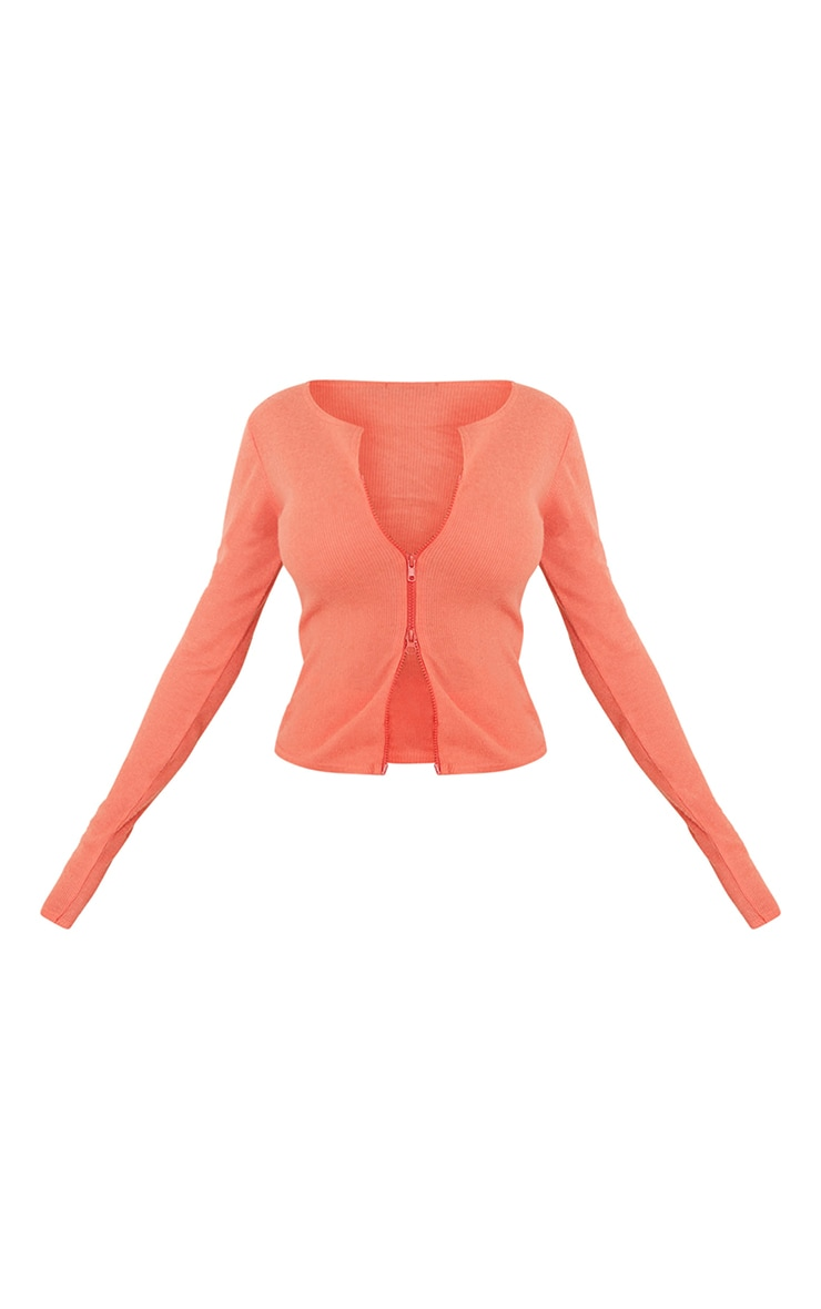 Dark Peach Soft Brushed Rib Double Zip Front Top 5