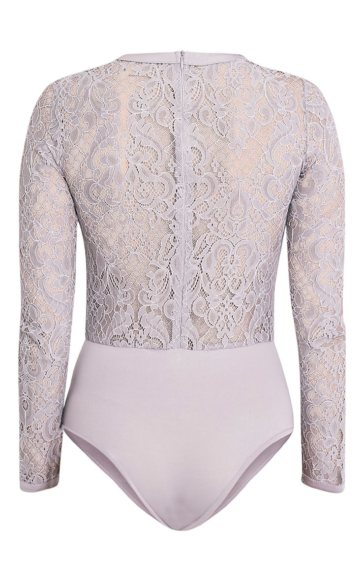 Idalia Grey Premium Hook & Eye Lace Thong Bodysuit 4