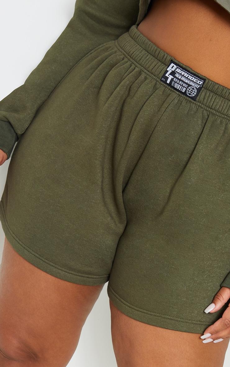 Plus Khaki PLT Badge Sweat Shorts 5